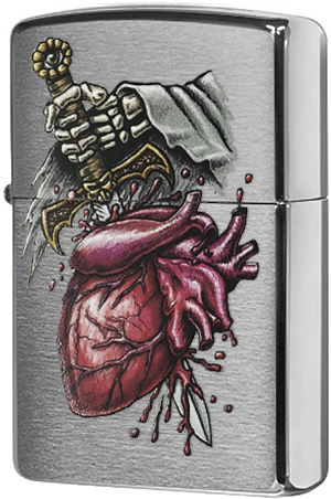 29406 Зажигалка Zippo Goth Sword in Heart, Brushed Chrome