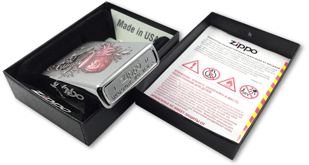 29406 Зажигалка Zippo Goth Sword in Heart, Brushed Chrome - заводской штамп на дне зажигалки