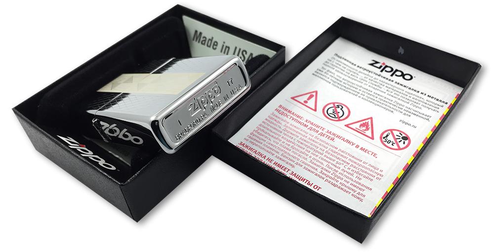 29424 Зажигалка Zippo Diamond Grill, Polish Chrome - заводской штамп на дне зажигалки