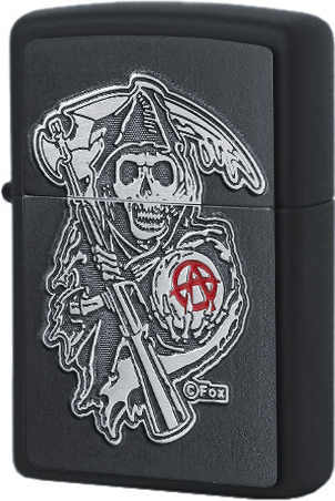 29489 Зажигалка Zippo SAMCRO Grim Reaper Emblem, Black Matte