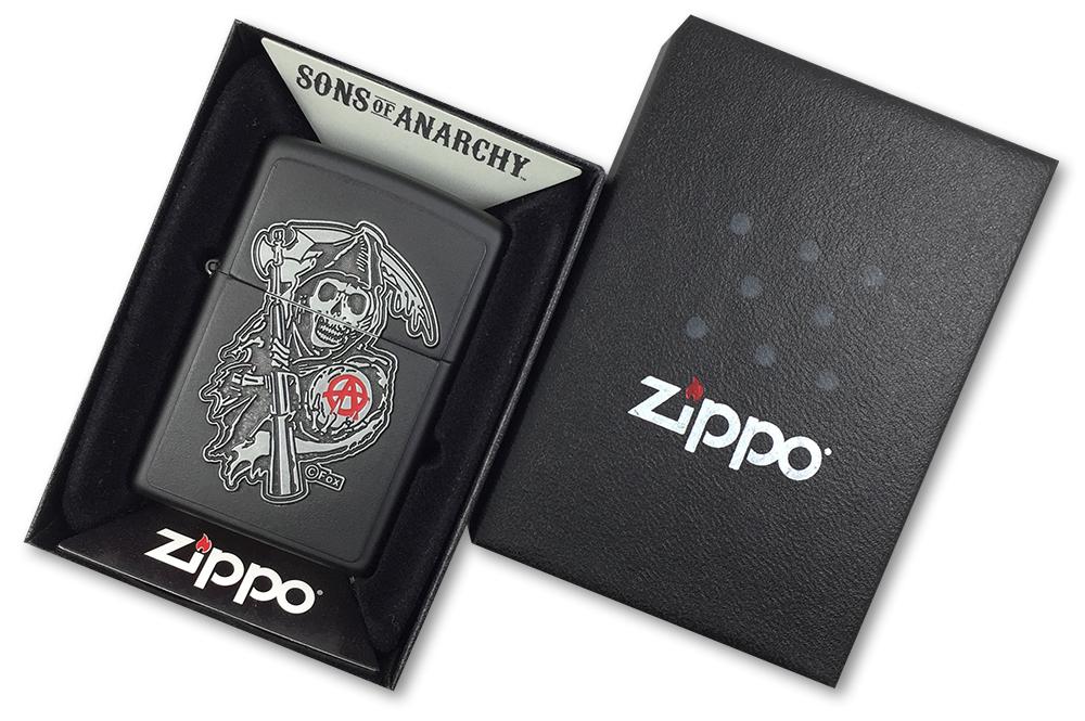 29489 Зажигалка Zippo SAMCRO Grim Reaper Emblem, Black Matte - в подарочной коробке
