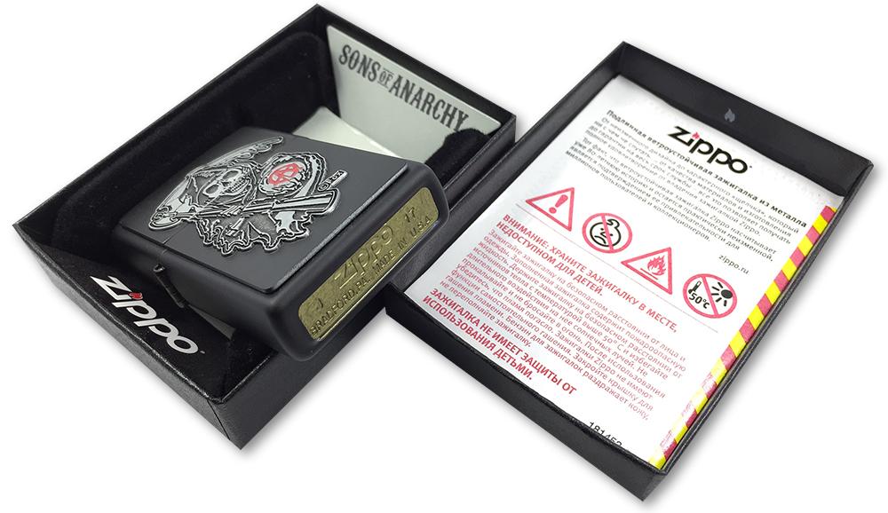 29489 Зажигалка Zippo SAMCRO Grim Reaper Emblem, Black Matte - заводской штамп на дне зажигалки