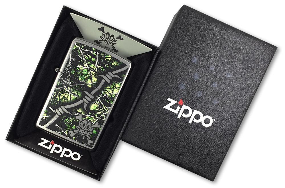29593 Зажигалка Zippo Lifestyle Camo, Street Chrome - в подарочной коробке