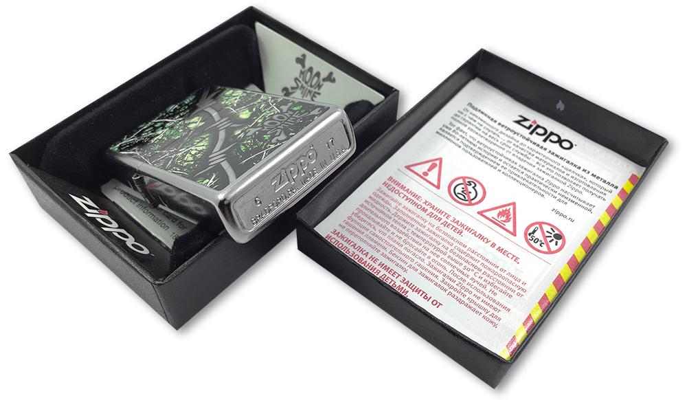 29593 Зажигалка Zippo Lifestyle Camo, Street Chrome - заводской штамп на дне зажигалки