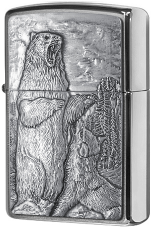 29636 Зажигалка Zippo Bear vs Wolf Emblem, Brushed Chrome