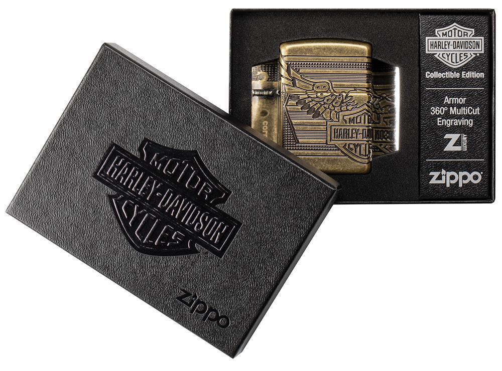29898 Зажигалка Zippo Harley-Davidson® 2019 Collectible, Armor Antique Brass - упаковка Харлей Дэвидсон