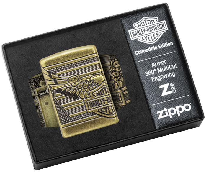 29898 Зажигалка Zippo Harley-Davidson® 2019 Collectible, Armor Antique Brass - в коллекционной подарочной упаковке Luxury