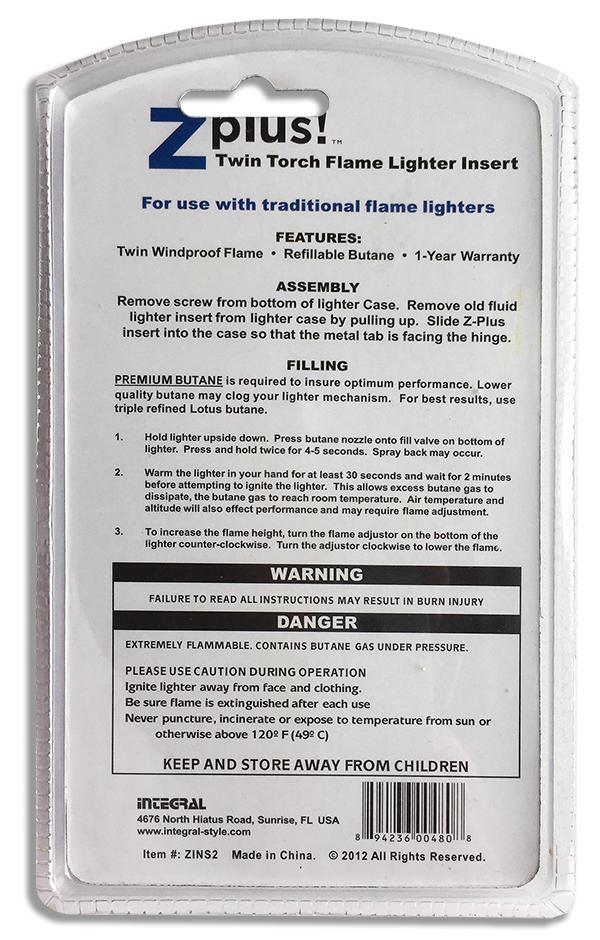 Газовый механизм ZPlus Jet Lighter Butane Extreme для зажигалок Zippo - блистерная упаковка
