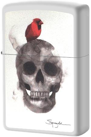 29644 Зажигалка Zippo Skull Spazuk, White Matte