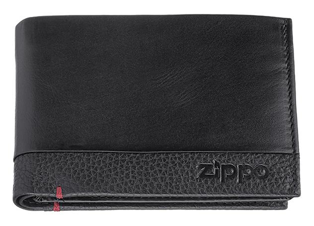 2006020 Портмоне Zippo, с защитой от сканирования RFID, чёрная натуральная кожа, 12×2×9 см