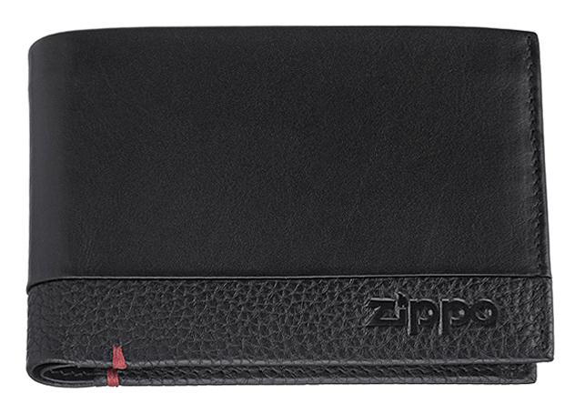 2006021 Портмоне Zippo, с защитой от сканирования RFID, чёрная натуральная кожа, 12×2×9 см