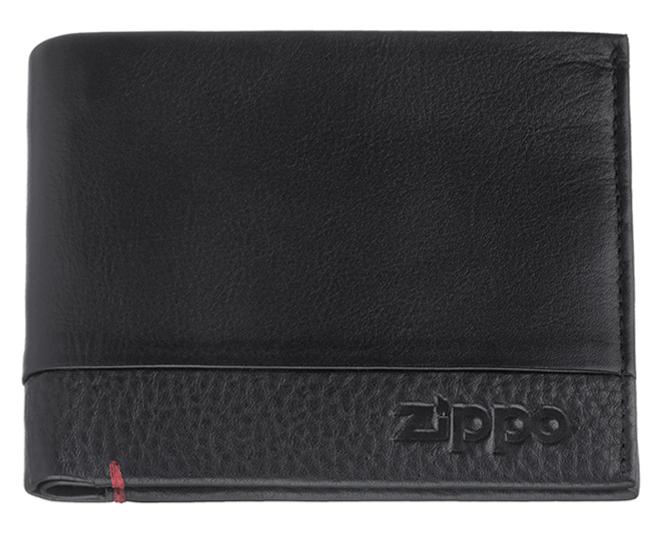 2006022 Портмоне Zippo, с защитой от сканирования RFID, чёрная натуральная кожа, 10,5×1,5×10 см