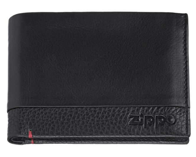 2006023 Портмоне Zippo, с защитой от сканирования RFID, чёрная натуральная кожа, 11,5 x 2 x 9,5 см