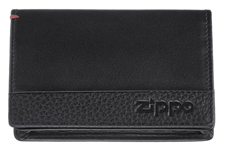 2006024 Держатель для карт Zippo, с защитой от сканирования RFID, чёрная натуральная кожа, 10,5 x 1,5 x 7,5 см (кредитница и визитница)