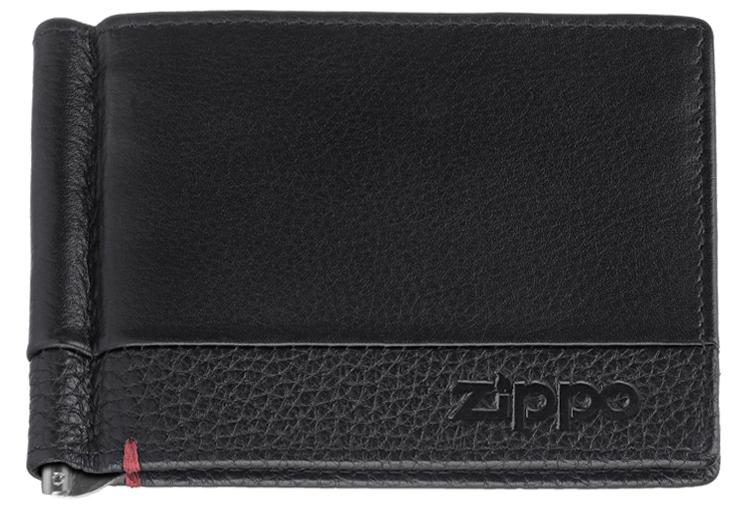 2006025 Зажим для денег Zippo, с защитой от сканирования RFID, чёрная натуральная кожа, 11 x 1 x 8,2 см