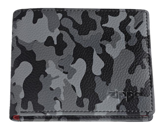 2006027 Портмоне Zippo, серый камуфляж, натуральная кожа, 10,8×2,5×8,6 см