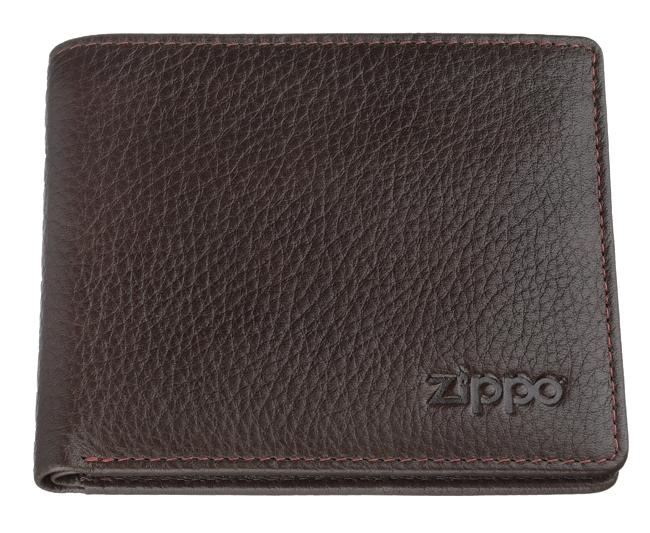 2006031 Портмоне Zippo, коричневая натуральная кожа, 10,8×1,8×8,6 см