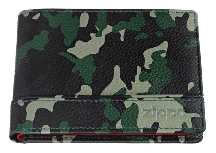 2006051 Портмоне Zippo, зелёный камуфляж, натуральная кожа, 11,2×2×8,2 см