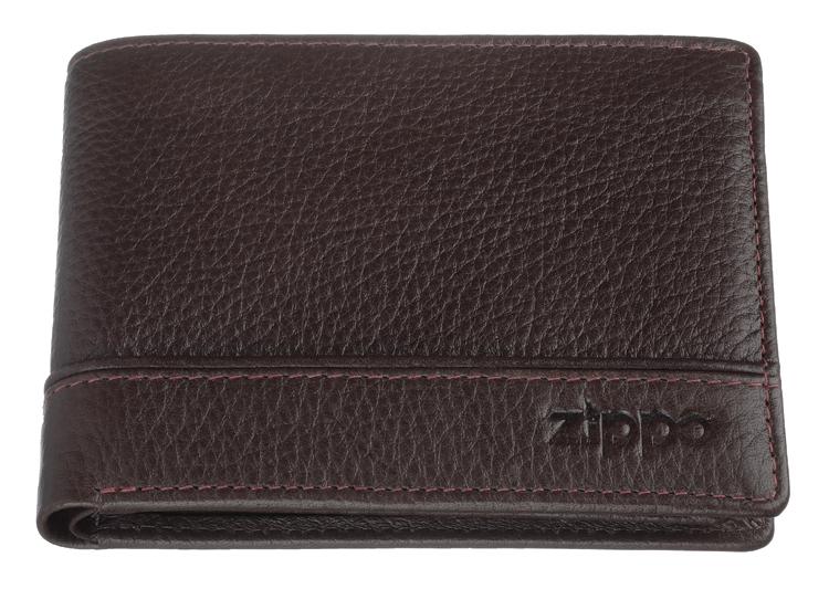 2006053 Портмоне Zippo, коричневая натуральная кожа, 11,2×2×8,2 см