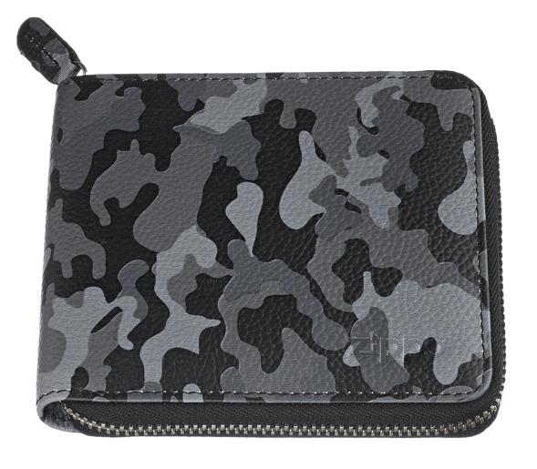 2006054 Портмоне Zippo на молнии, серый камуфляж, натуральная кожа, 12×2×10,5 см
