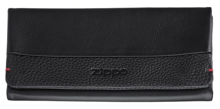 2006059 Кисет для табака Zippo, чёрная натуральная кожа, 17x2x8,5 см