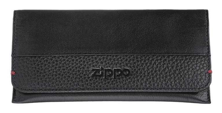 2006058 Кисет для табака Zippo, чёрная натуральная кожа, 15,5x1,2x8 см