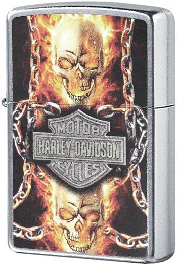 207 Зажигалка Zippo Harley Davidson Skull with Chains, Street Chrome