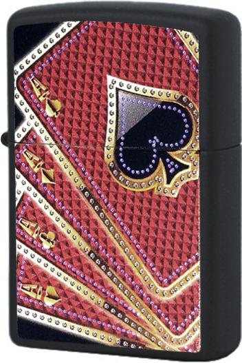218 Зажигалка Zippo Card Suits, Black Matte