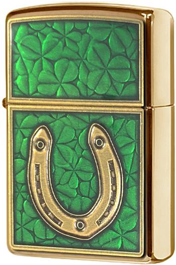 29243 Зажигалка Zippo Horseshoe Clovers, Brushed Brass