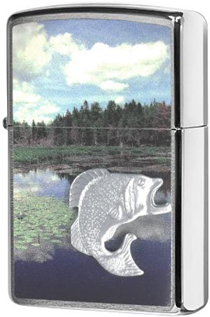 29408 Зажигалка Zippo Fish in Lake Emblem, Brushed Chrome