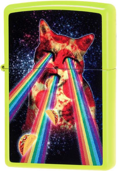 29614 Зажигалка Zippo Pizza Cat, Neon Yellow
