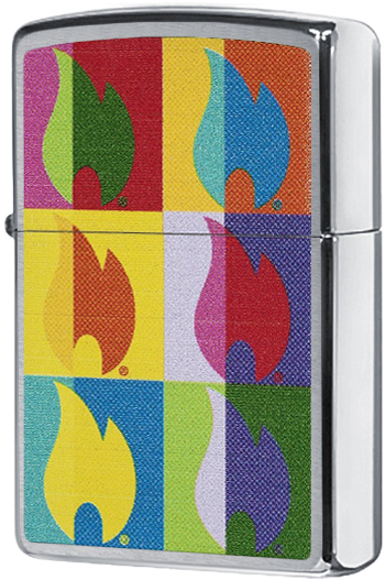 29623 Зажигалка Zippo Abstract Flame Design, Brushed Chrome