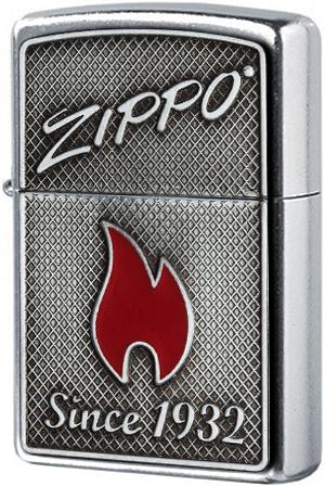 29650 Зажигалка Zippo Flame Since 1932 Emblem, Street Chrome