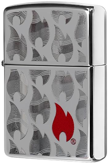 29678 Зажигалка Zippo Flames Design, Polish Chrome