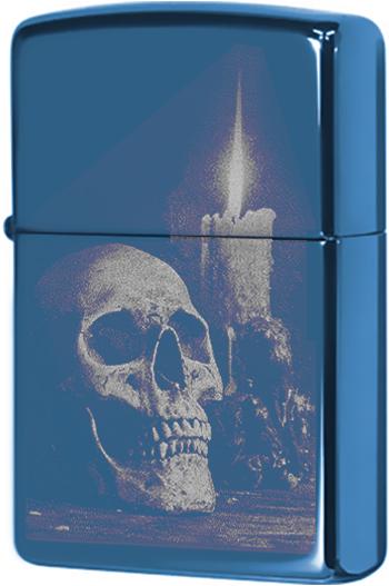 29704 Зажигалка Zippo Skull and Candle, Sapphire