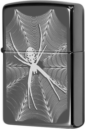 29733 Зажигалка Zippo Spider and Web Design, Black Ice