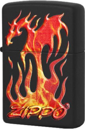 29735 Зажигалка Zippo Flaming Dragon Design, Black Matte