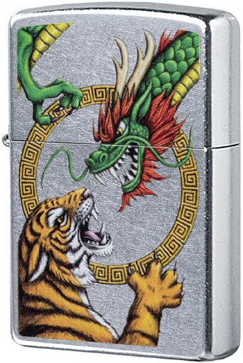 29837 Зажигалка Zippo Chinese Dragon, Street Chrome