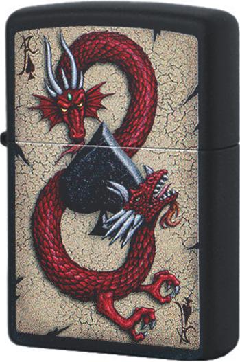 29840 Зажигалка Zippo Dragon Ace Design, Black Matte