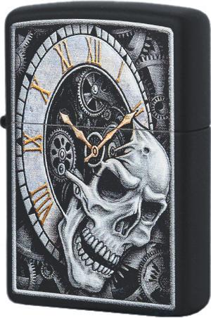 29854 Зажигалка Zippo Skull Clock Design, Black Matte