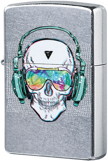 29855 Зажигалка Zippo Skull Headphone Design, Street Chrome