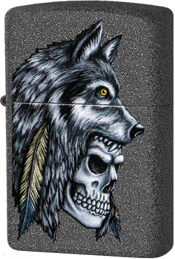 29863 Зажигалка Zippo Wolf Skull Feather Design, Iron Stone