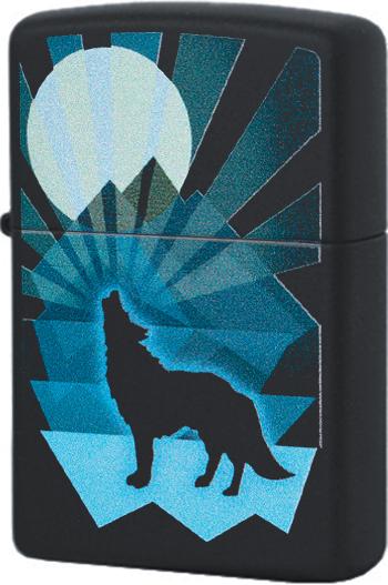 29864 Зажигалка Zippo Wolf and Moon Design, Black Matte
