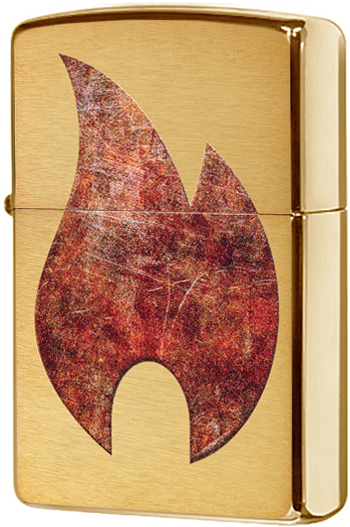 29878 Зажигалка Zippo Rusty Flame Design, Brushed Brass