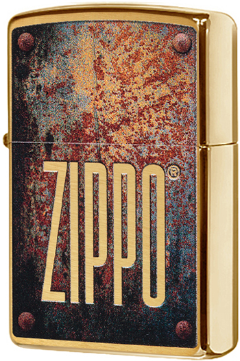 29879 Зажигалка Zippo Rusty Plate Design, Brushed Brass