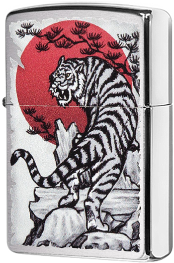 29889 Зажигалка Zippo Asian Tiger Design, Brushed Chrome