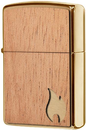 29901 Зажигалка Zippo WOODCHUCK USA Flame Emblem, Brushed Brass