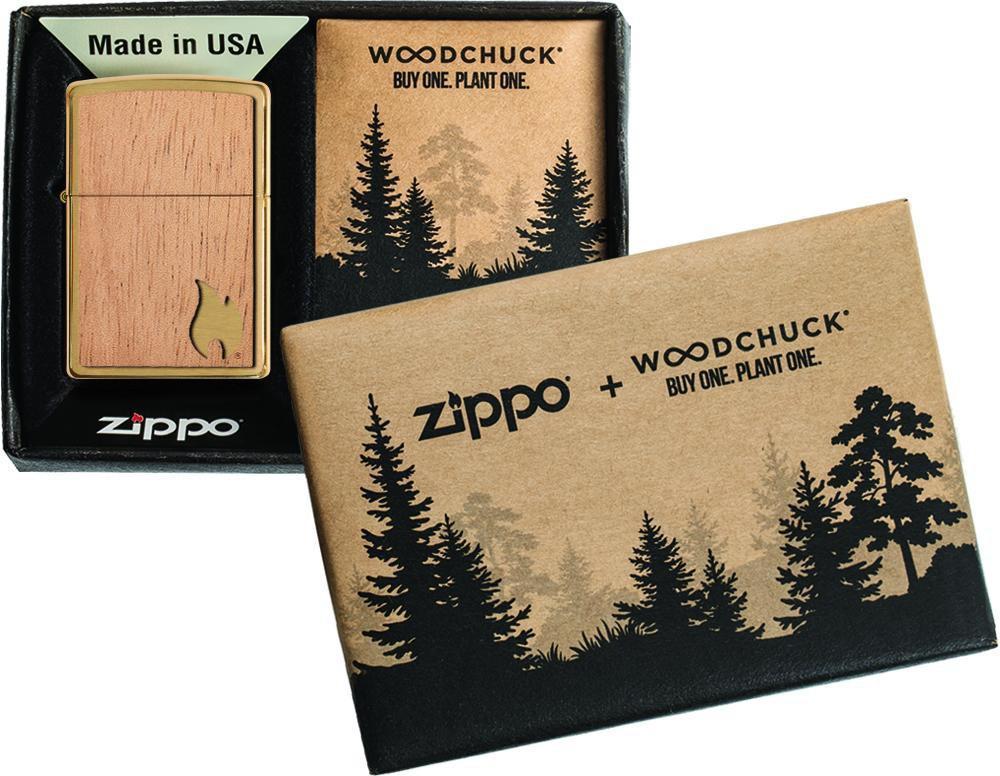 29901 Зажигалка Zippo WOODCHUCK USA Flame Emblem, Brushed Brass индивидуальная коллекционная коробка