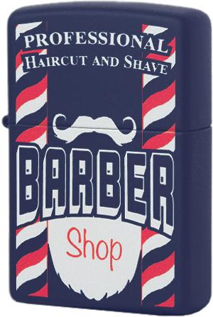 29919 Зажигалка Zippo Barber Shop, Navy Matte