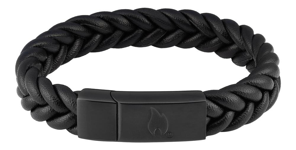 Браслет Zippo wicker, чёрный, нержавеющая сталь/натуральная плетёная кожа косичка, 1,40x0,80 см